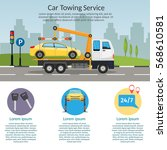 tow truck city road assistance... | Shutterstock .eps vector #568610581