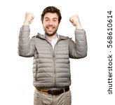 surprised man doing a... | Shutterstock . vector #568610614