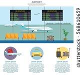 airport passenger terminal and... | Shutterstock .eps vector #568610659