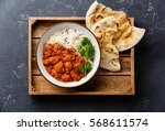 chicken tikka masala spicy... | Shutterstock . vector #568611574