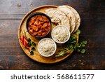 chicken tikka masala spicy... | Shutterstock . vector #568611577