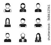 avatar set icons in black style.... | Shutterstock .eps vector #568612561