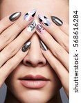 beautiful female hands cover... | Shutterstock . vector #568616284