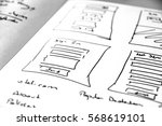 web layout sketch paper book ... | Shutterstock . vector #568619101