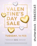 valentines day sale gold text...