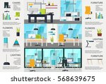 workplace interior poster with... | Shutterstock .eps vector #568639675