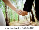 wedding theme  holding hands... | Shutterstock . vector #56864185