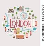 set of london landmarks. vector ... | Shutterstock .eps vector #568647979