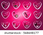 set of twelve valentine hearts...   Shutterstock .eps vector #568648177