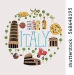set of italy landmarks. vector... | Shutterstock .eps vector #568648195