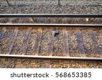 shoes lying on railway tracks....   Shutterstock . vector #568653385