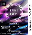 disco party poster template.... | Shutterstock .eps vector #568653931