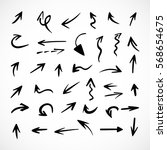 hand drawn arrows  vector set | Shutterstock .eps vector #568654675