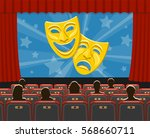 cinema auditorium flat icons... | Shutterstock .eps vector #568660711
