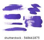 Set Of Purple Brush Strokes Of...