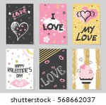 cards with a pink  black  white ... | Shutterstock .eps vector #568662037
