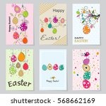 set of colored easter greeting... | Shutterstock .eps vector #568662169