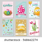 set of colored easter greeting... | Shutterstock .eps vector #568662274