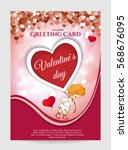 valentine's day greeting card... | Shutterstock .eps vector #568676095