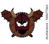 emblem viking warrior skull logo   Shutterstock .eps vector #568677661
