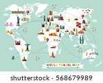world travel map. vector... | Shutterstock .eps vector #568679989