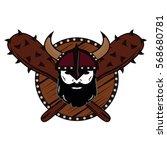 emblem viking warrior skull logo   Shutterstock .eps vector #568680781