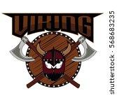emblem viking warrior skull logo   Shutterstock .eps vector #568683235