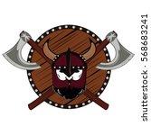 emblem viking warrior skull logo   Shutterstock .eps vector #568683241