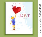 valentine's card with boy and... | Shutterstock .eps vector #568683841