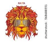 vector face of lion in aviator... | Shutterstock .eps vector #568688551