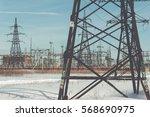 high voltage power lines....   Shutterstock . vector #568690975