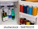 mini referegiretor in a hotel... | Shutterstock . vector #568703155