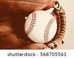 baseball and glove  | Shutterstock . vector #568705561