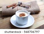 hot turkish salep with cinnamon ... | Shutterstock . vector #568706797