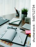 business document in office... | Shutterstock . vector #568712734