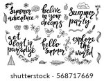 set of hand drawn summer theme... | Shutterstock .eps vector #568717669