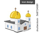 vector icon of christian church | Shutterstock .eps vector #568724089