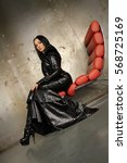 Small photo of Gothic Rock Black Mermaid PVC Vinyl Long Dress with Latex Rubber Corset and Jacket With Big Shoulders Vogue Fashionable High Luxury Style