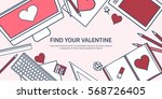 love and heart. lined vector... | Shutterstock .eps vector #568726405