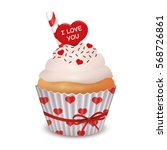 valentine's day cupcake. vector ...   Shutterstock .eps vector #568726861