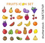 fruits icon set. vector | Shutterstock .eps vector #568728769