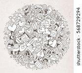 cartoon cute doodles hand drawn ... | Shutterstock .eps vector #568729294