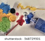 Small photo of Colored pigment powder. Different colors to create acrylic paint