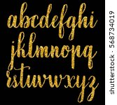 hand drawn letters with golden... | Shutterstock .eps vector #568734019