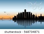 detroit skyline  michigan  ... | Shutterstock .eps vector #568734871