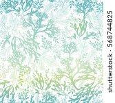 vector blue freen seaweed... | Shutterstock .eps vector #568744825