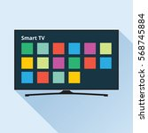 smart tv icon in flat style.... | Shutterstock .eps vector #568745884