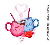 digital illustration of two... | Shutterstock . vector #568748419