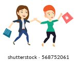 young caucasian women rushing... | Shutterstock .eps vector #568752061