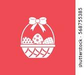 easter eggs in basket flat icon ... | Shutterstock .eps vector #568755385